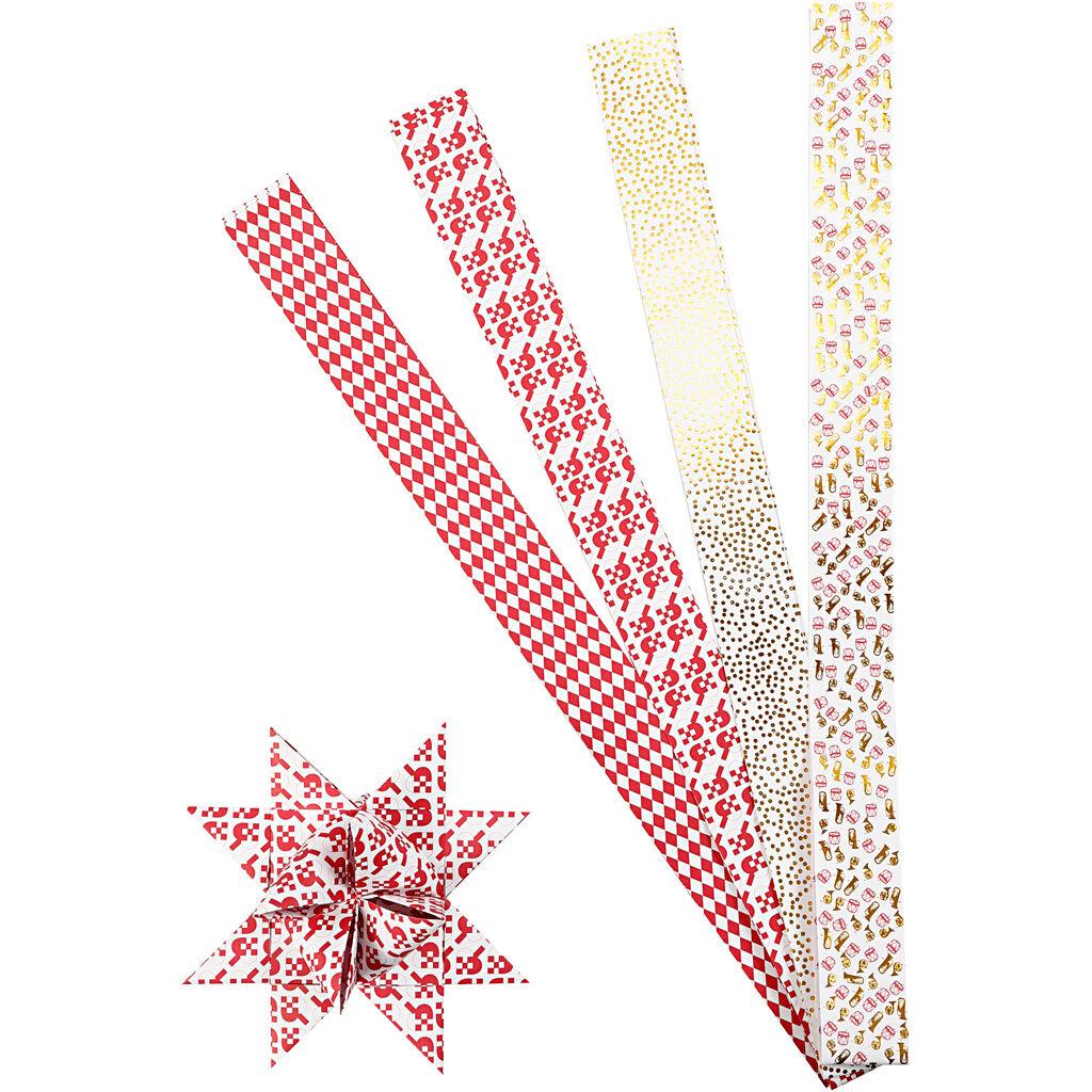 ViviGade Bandes de papier étoiles, L: 100 cm, d: 18 cm, L: 40 mm, or, rouge, blanc, 40 bandes/ 1 Pq.