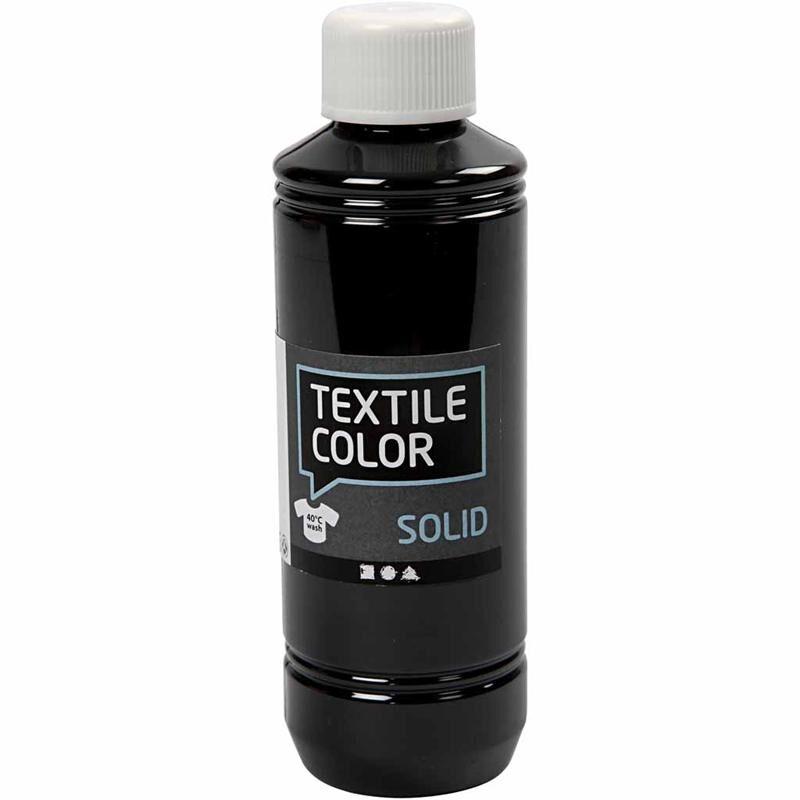 Creativ Company Textile Solid, opaque, noir, 250 ml/ 1 flacon