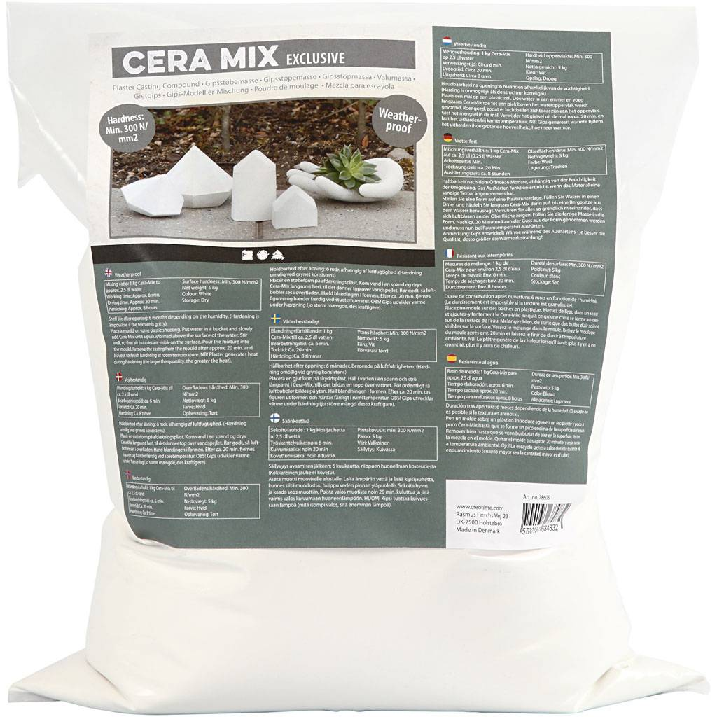Creativ Company Poudre de moulage Cera-Mix de Luxe, blanc, 5 kg/ 1 Pq.