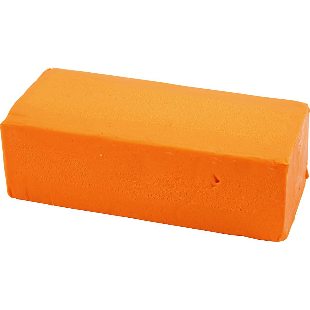 Creativ Company Pâte À Modeler Douce, 13x6x4 cm, Orange Néon, 500 gr, 1 Pq.