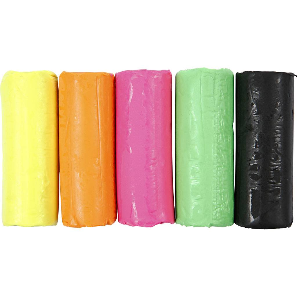 Creativ Company Pâte à modeler douce, H: 9,5 cm, couleurs néons, 400 gr/ 1 seau