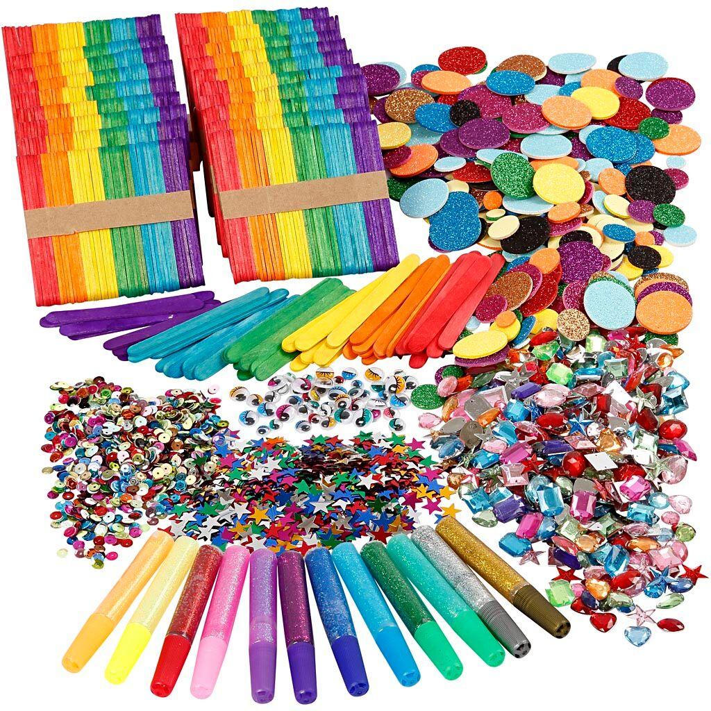 Creativ Company Paillettes et bâtonde glace, couleurs assorties, 1 set