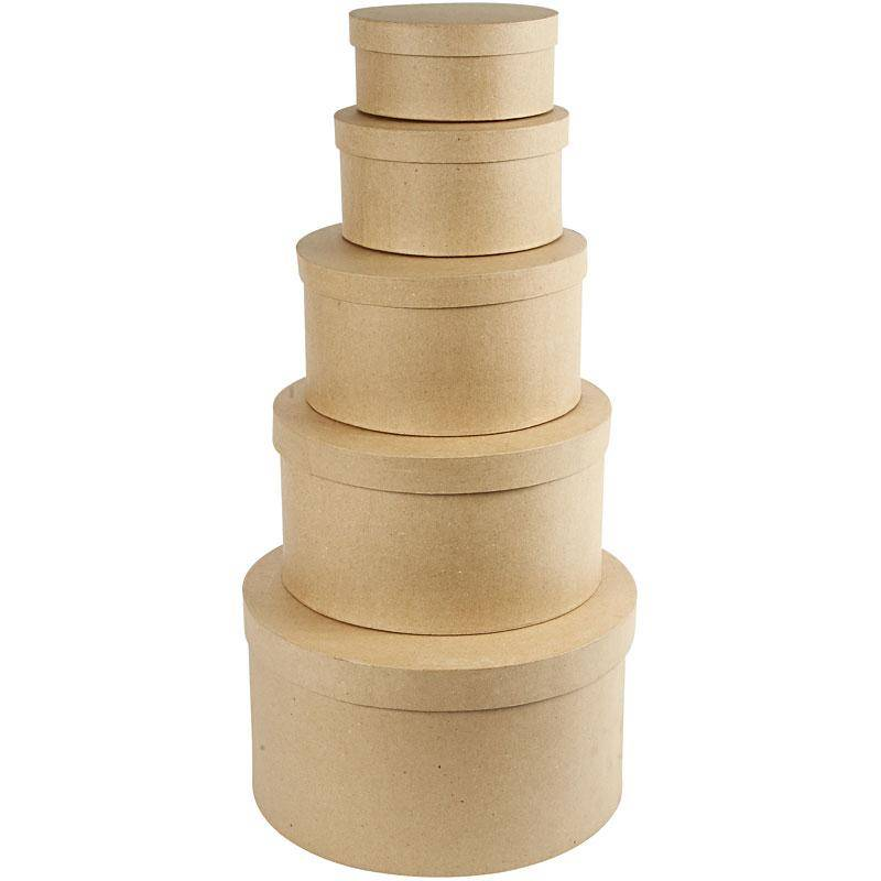 Creativ Company Boîtes gigognes rondes, H: 8+10+13+15+19 cm, d: 16,5+18,5+24+28,5+35,5 cm, 5 pièce/ 1 set
