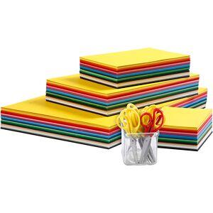 Creativ Company Papier Cartonné De Couleurs Et Set De Ciseaux Enfants, A3,a4,a5,a6, 180 gr, Couleurs Assorties, 1 Set - Publicité