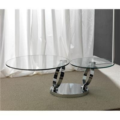 Happymobili Table basse en cristal transparent et acier inox design MAISA