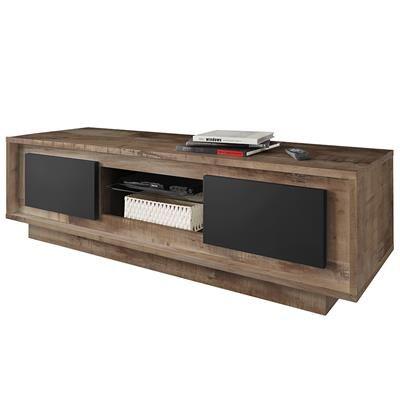 Happymobili Grand meuble TV couleur bois et noir moderne SICILIA