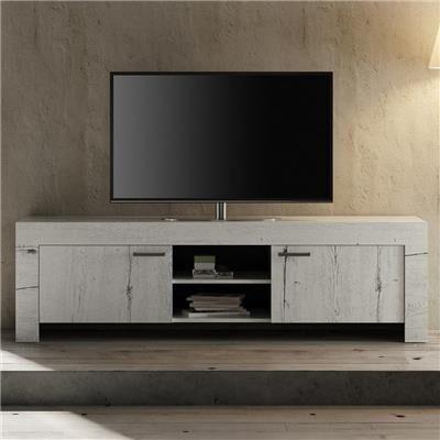 Happymobili Meuble tv contemporain couleur chêne blanchi THELMA 2