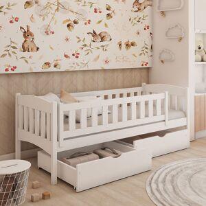 Petite Chambre Lit junior Gucio   Blanc   80 cm x 180 cm   Bois massif   petitechambre.fr - Publicité