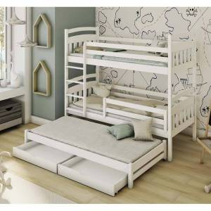 Petite Chambre Lit superposé 3 couchages ALAN personnalisé   Blanc   90 cm x 200 cm   Bois massif   petitechambre.fr - Publicité