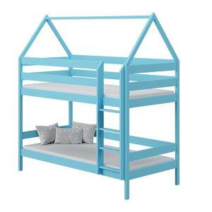 Petite Chambre Lit superposé cabane DOMEK pour chambre enfant   Bleu   80 cm x 160 cm   Bois massif   petitechambre.fr - Publicité
