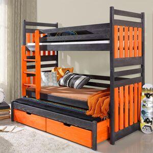 Petite Chambre Lit superposé 3 couchages Sambor orange et graphite   Graphite   90 cm x 180 cm   Bois massif   petitechambre.fr - Publicité