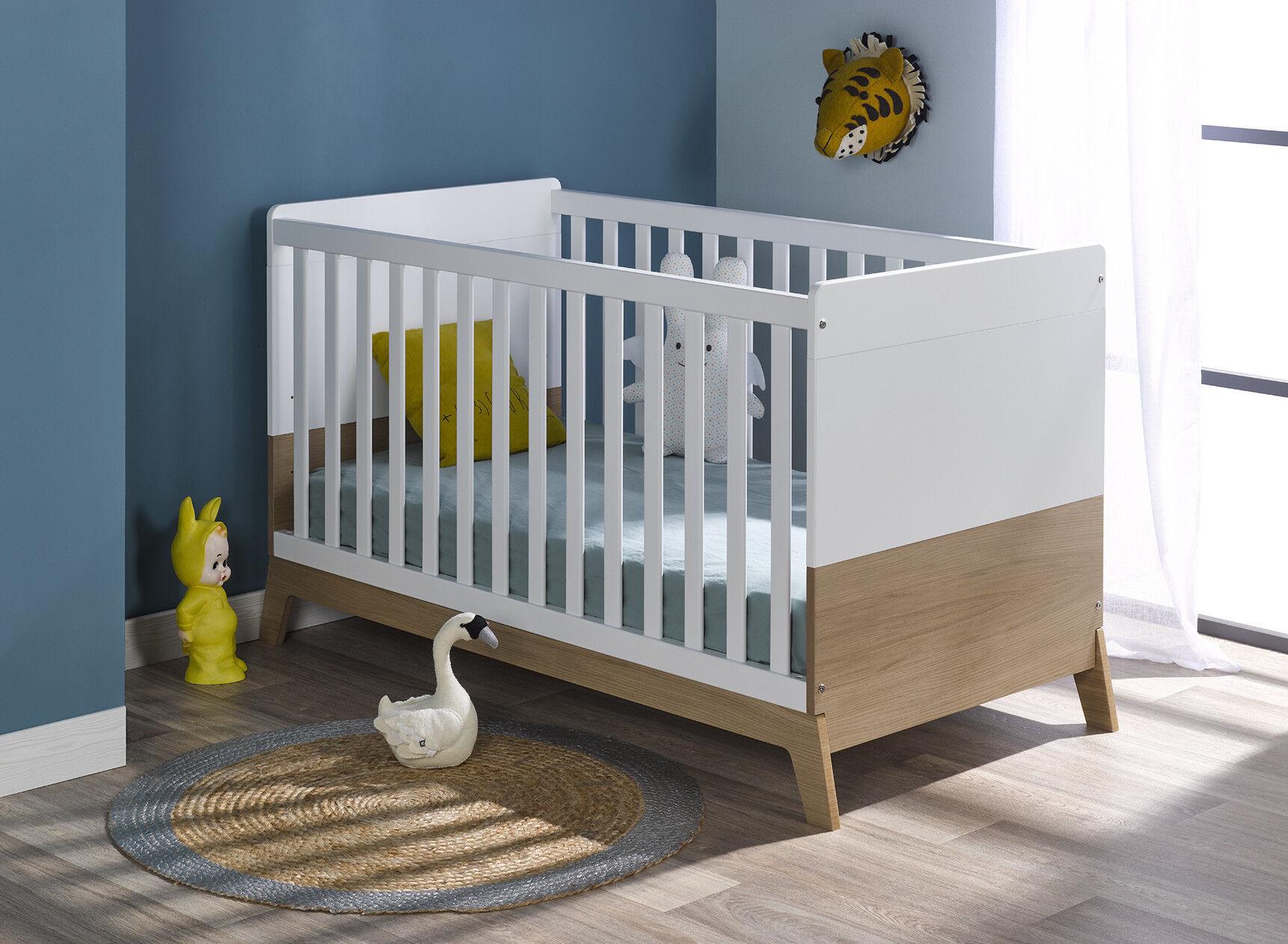 Nateo Concept Lit bébé évolutif EKKO – Blanc/Chêne