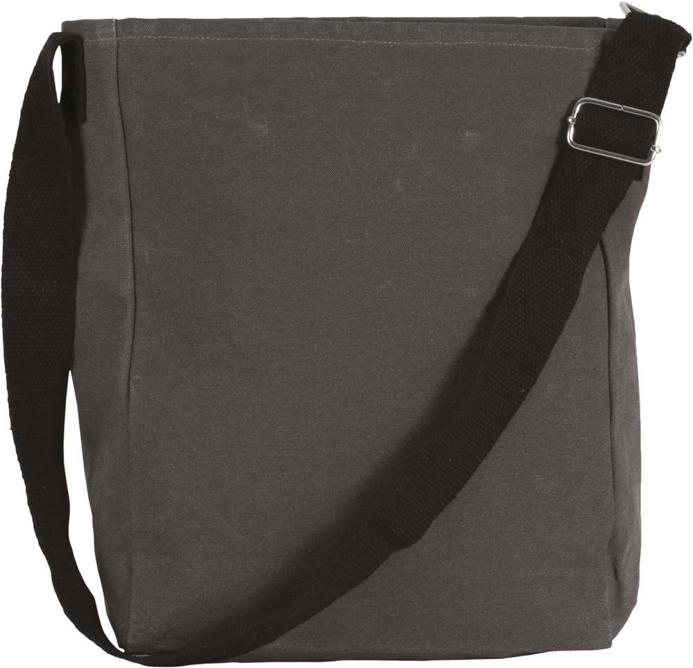 Kimood Pack 50 Kimood KI0351 - Unisexe Sac bandoulière en coton canvas Washed Dark Grey