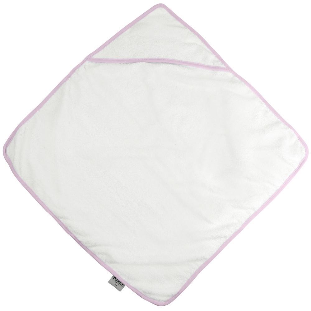 Towel city TC036 - Cape de Bain pour Bebe White/ Pink - Taille 75x75cm