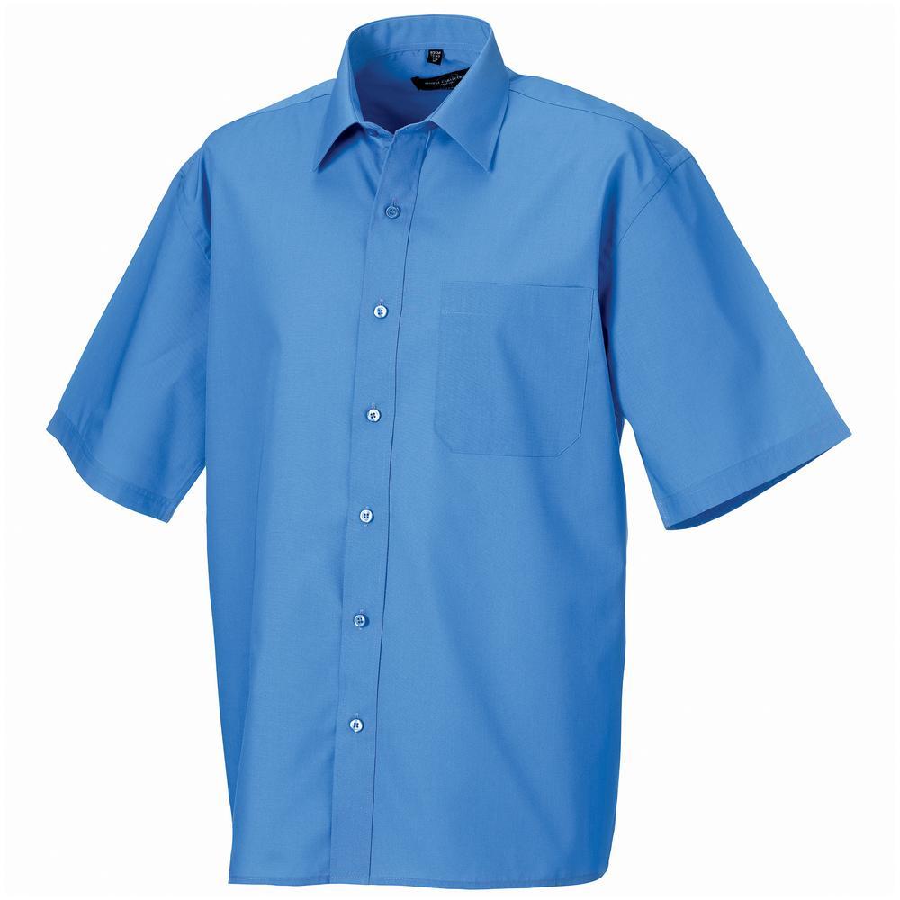 Russell J935M - Hommes Chemise en popeline manches courtes polyester/coton facile d'entretien Corporate Blue - L - polyester/cotton
