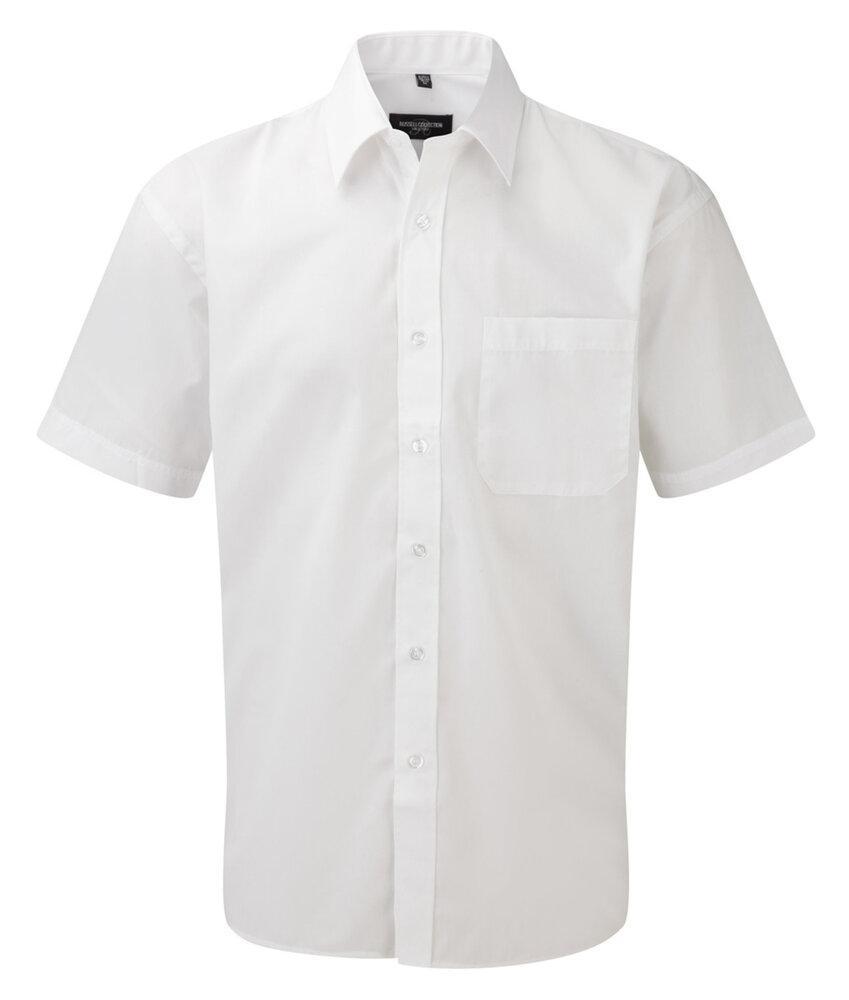 Russell J935M - Hommes Chemise en popeline manches courtes polyester/coton facile d'entretien Blanc - XL - polyester/cotton