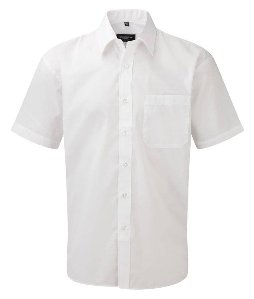 Russell J935M - Hommes Chemise en popeline manches courtes polyester/coton facile d'entretien Blanc - M - polyester/cotton