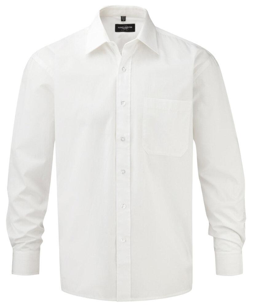 Russell J936M - Hommes Chemise en popeline manches longues pur coton facile d'entretien Blanc - M - cotton