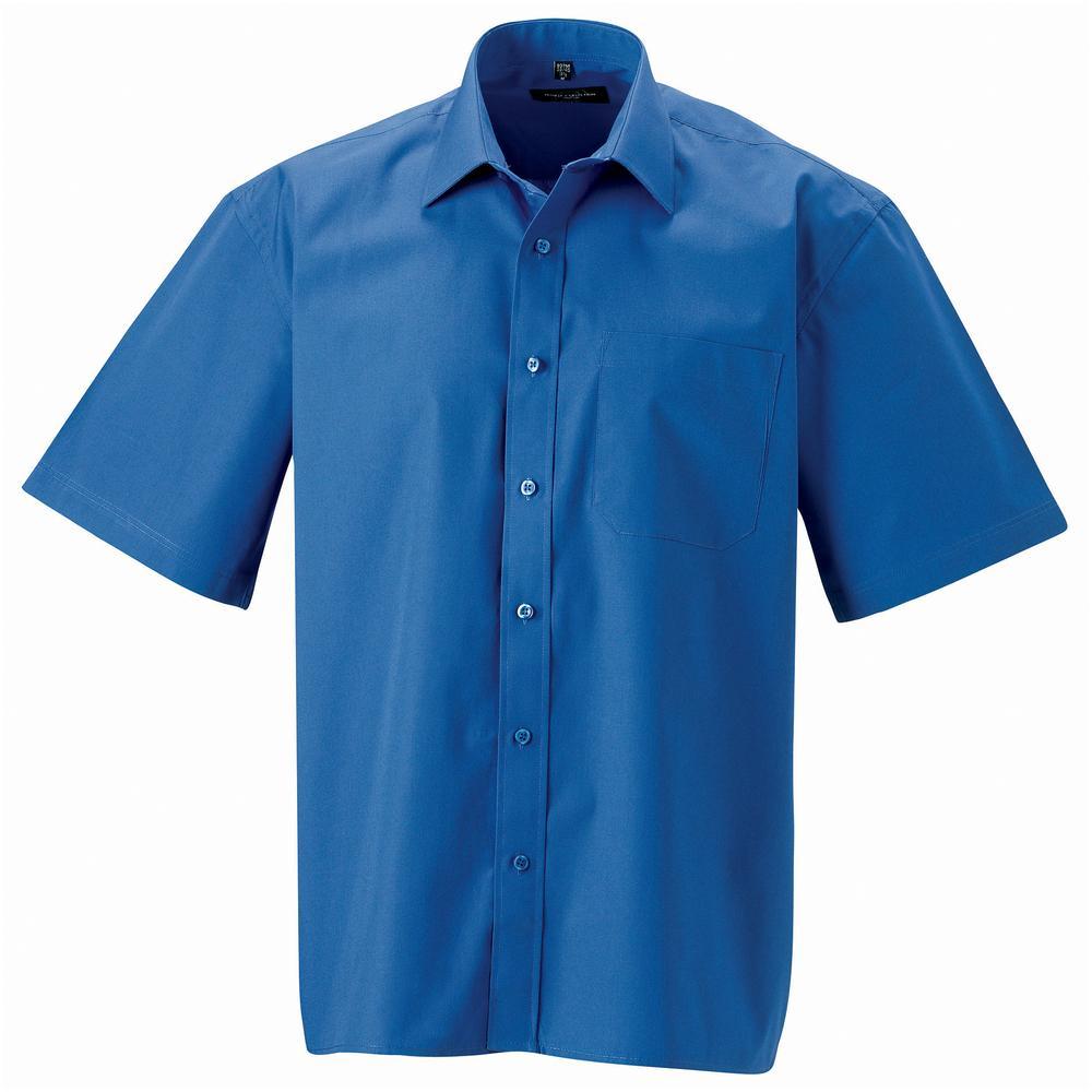 Russell J937M - Hommes Chemise en popeline manches courtes pur coton facile d'entretien Aztec Blue - S - cotton