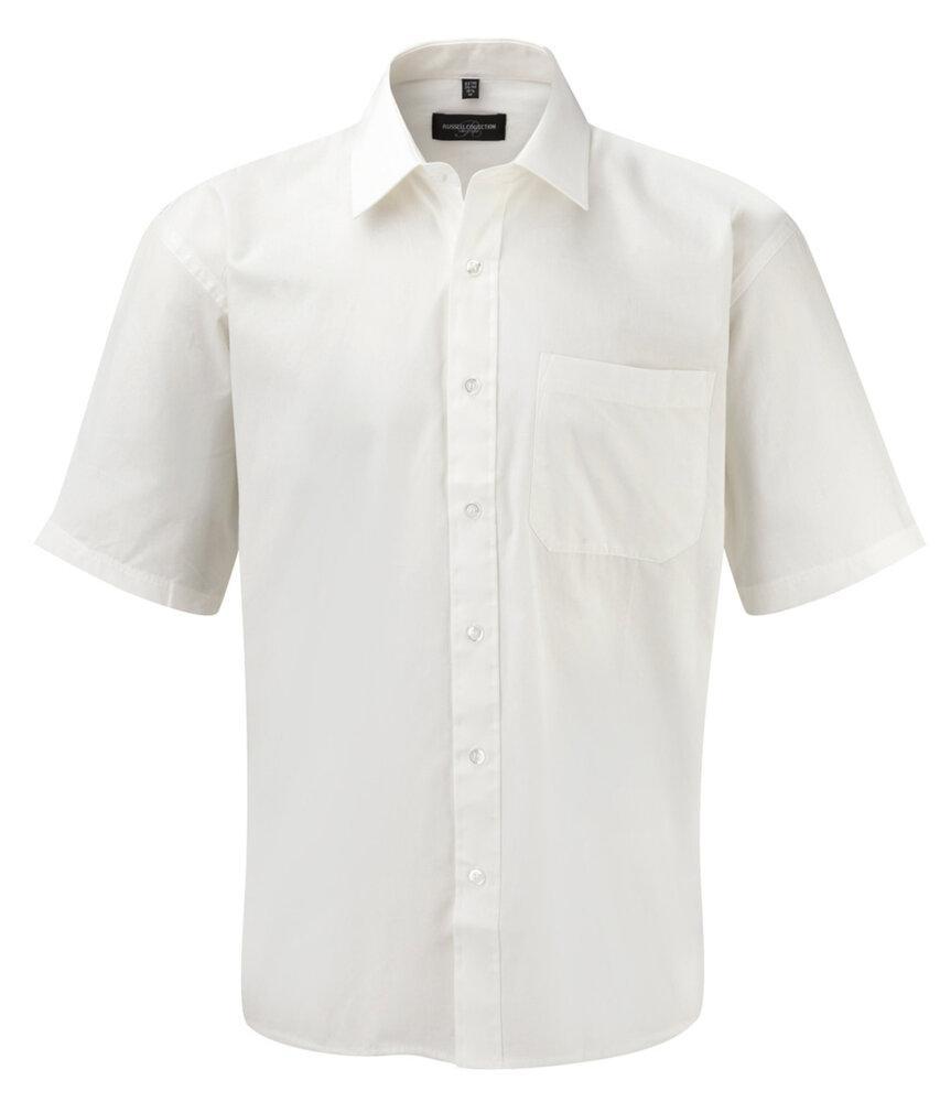 Russell J937M - Hommes Chemise en popeline manches courtes pur coton facile d'entretien Blanc - L - cotton