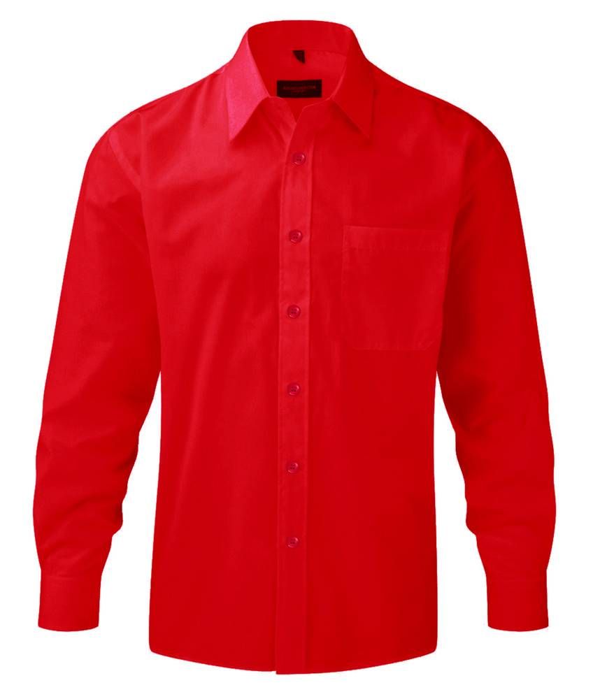 Russell J934M - Hommes Chemise en popeline manches longues polyester/coton facile d'entretien Classic Red - S - cotton/polyester