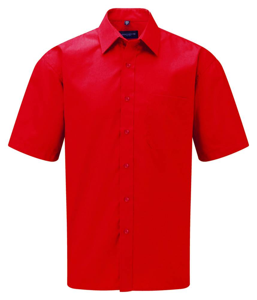 Russell J935M - Hommes Chemise en popeline manches courtes polyester/coton facile d'entretien Classic Red - L - polyester/cotton