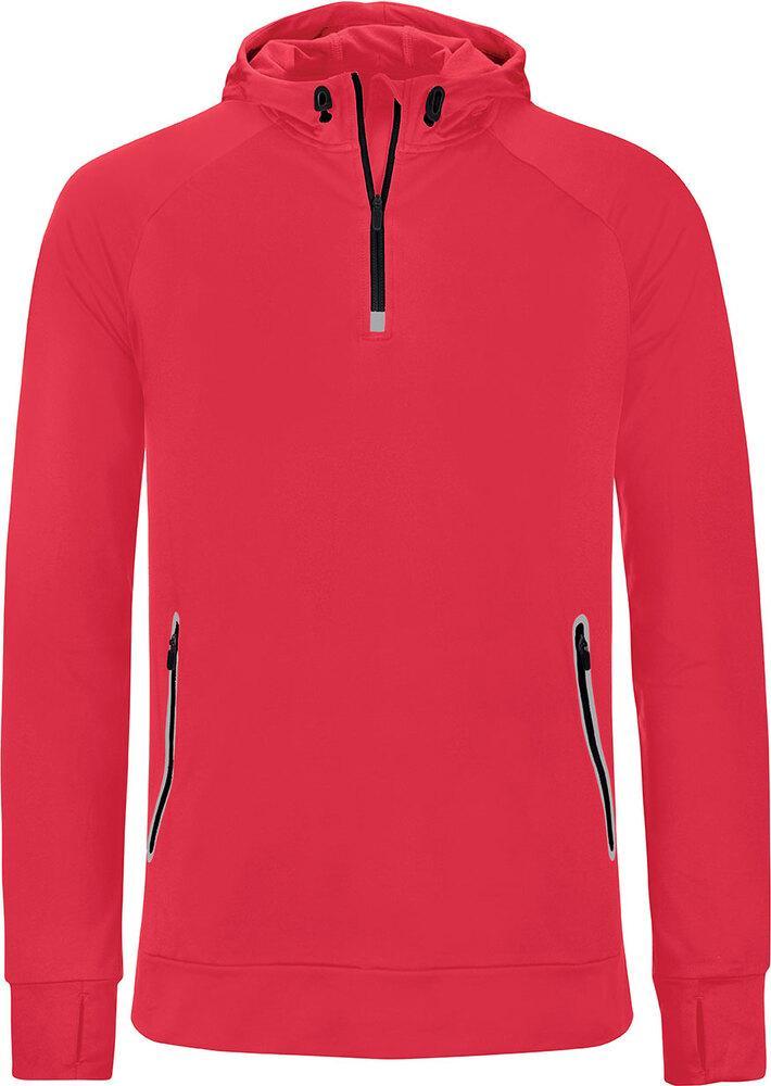Proact PA360 - Hommes Sweatshirt capuche 1/4 zip sport Rouge - L - polyester