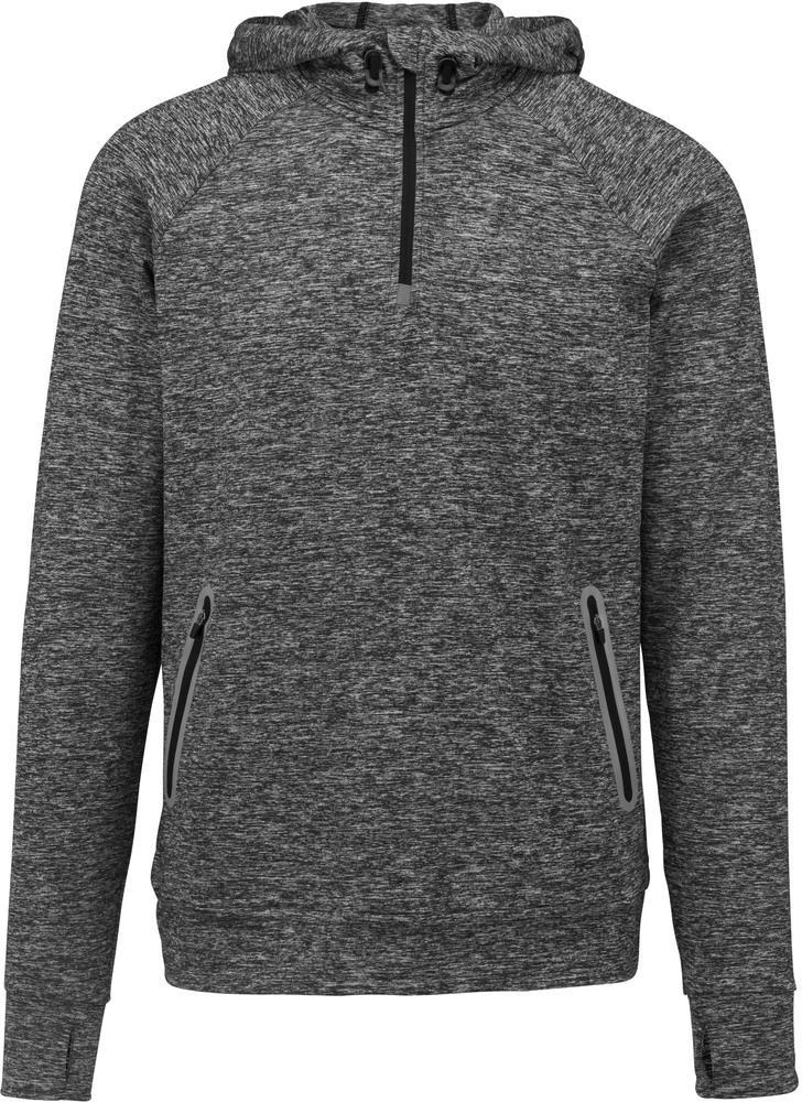 Proact PA360 - Hommes Sweatshirt capuche 1/4 zip sport Sporty Grey Melange - L - polyester