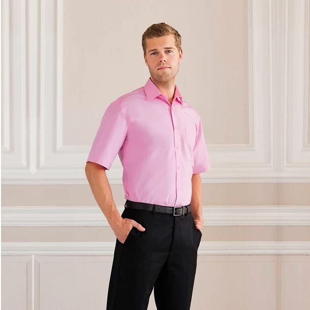 Russell J937M - Hommes Chemise en popeline manches courtes pur coton facile d'entretien Noir - XL - cotton