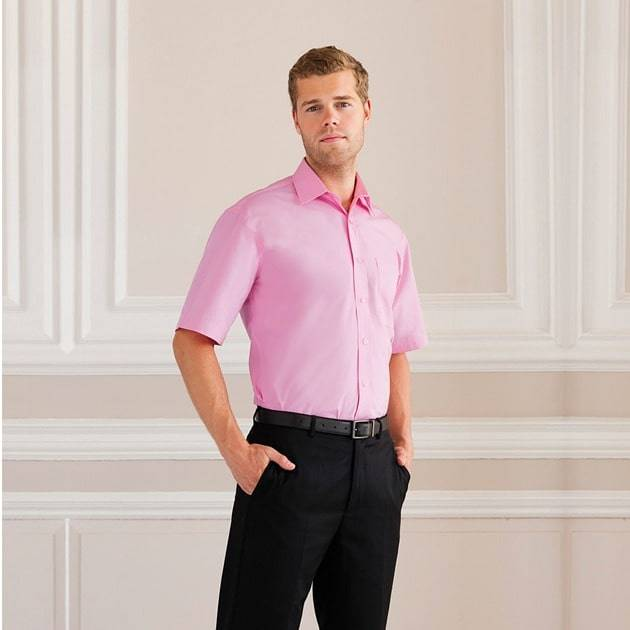 Russell J937M - Hommes Chemise en popeline manches courtes pur coton facile d'entretien Noir - 2XL - cotton