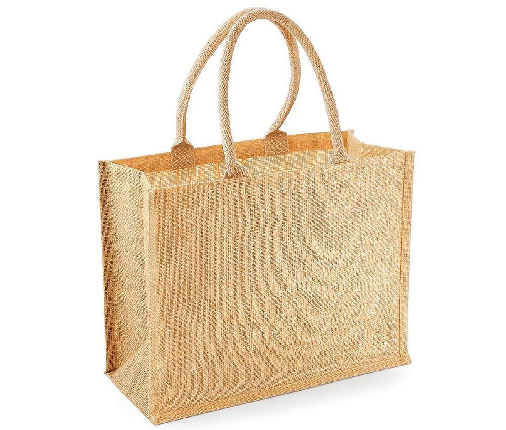 Westford mill WM437 - Unisexe Sac shopping en toile de jute scintillant Natural/Gold - Taille 0