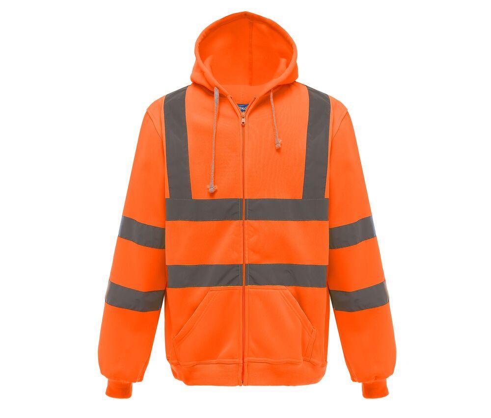 Yoko YKK07 - Unisexe Sweat capuche zippé haute visibilité Hi Vis Orange - 2XL