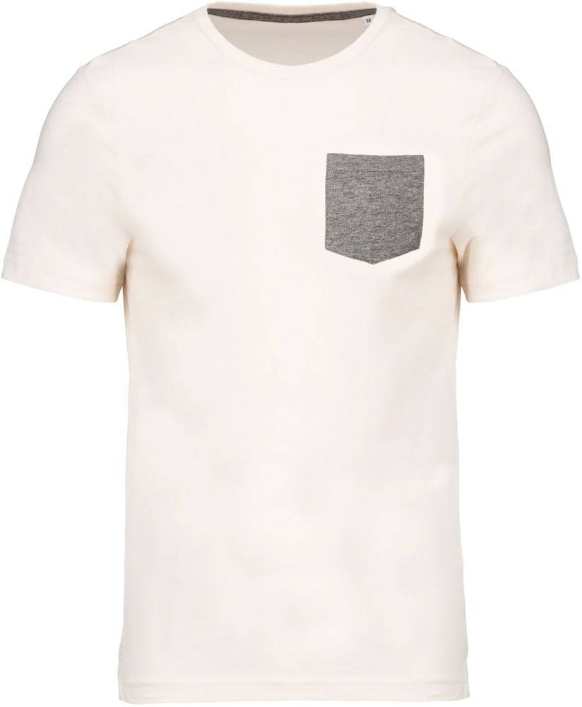 Kariban Pack 50 T-shirt coton bio avec poche Cream/Grey heather - Kariban K375 - Taille L
