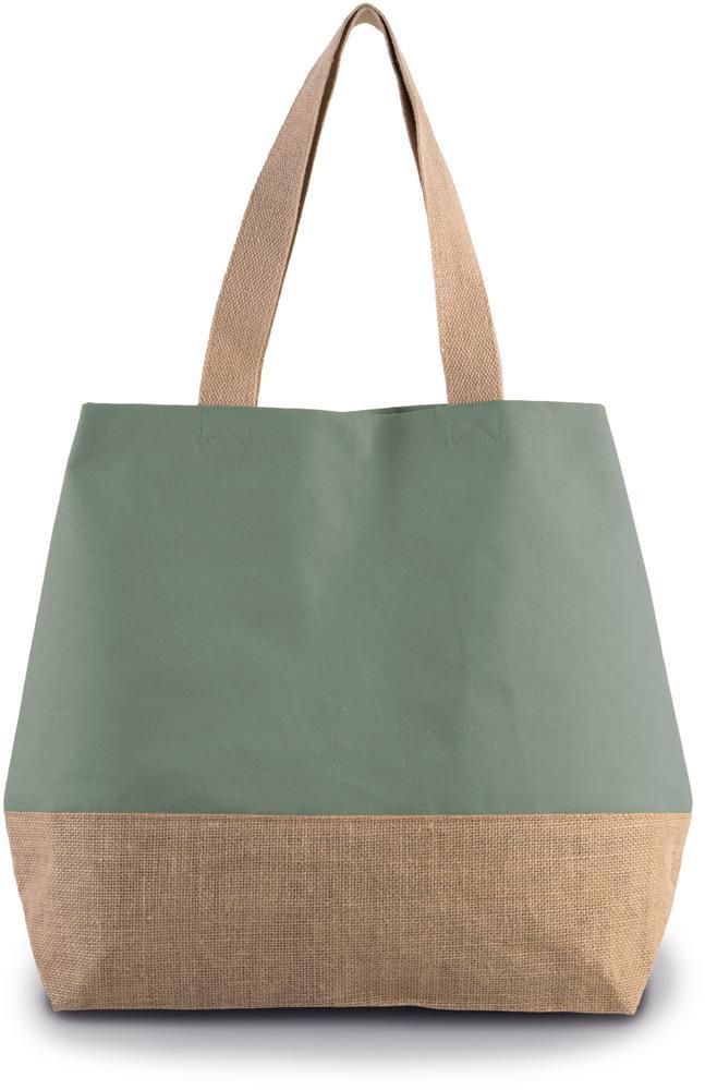 Kimood Pack 40 Kimood KI0235 - Unisexe Sac shopping en toiles de coton jute Dusty Light Green/Natural - Taille One Size