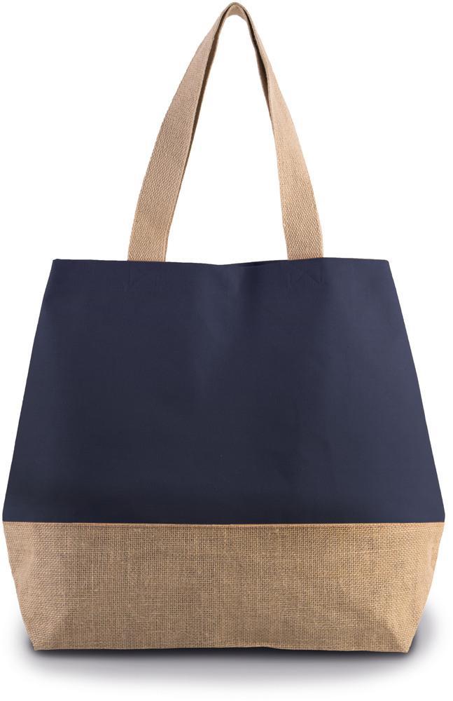 Kimood Pack 40 Kimood KI0235 - Unisexe Sac shopping en toiles de coton jute Patriot Blue/Natural - Taille One Size