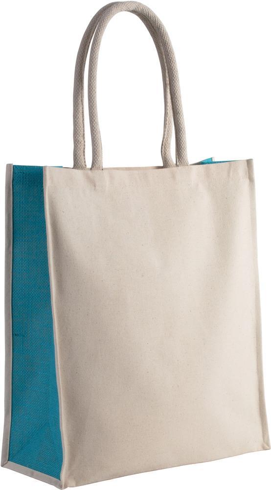 Kimood Pack 50 Kimood KI0253 - Unisexe Sac cabas en coton / jute - 23 L Natural/Turquoise - Taille One Size