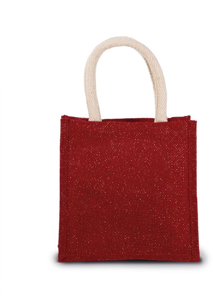Kimood Pack 50 Kimood KI0272 - Unisexe Sac style cabas en toile de jute - petit modele Cherry Red/Gold - Taille One Size