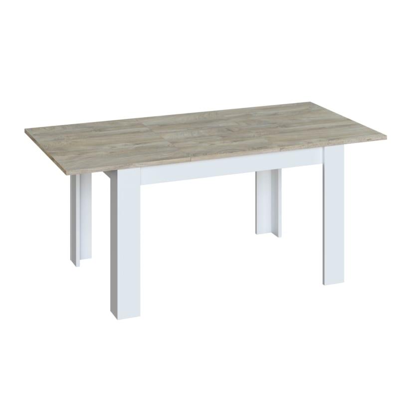 Atelier Mundo Table a manger extensible L140/190 cm Blanc bois blanchi - Atelier Mundo SA-524 - Taille 140/190x90 (cm)