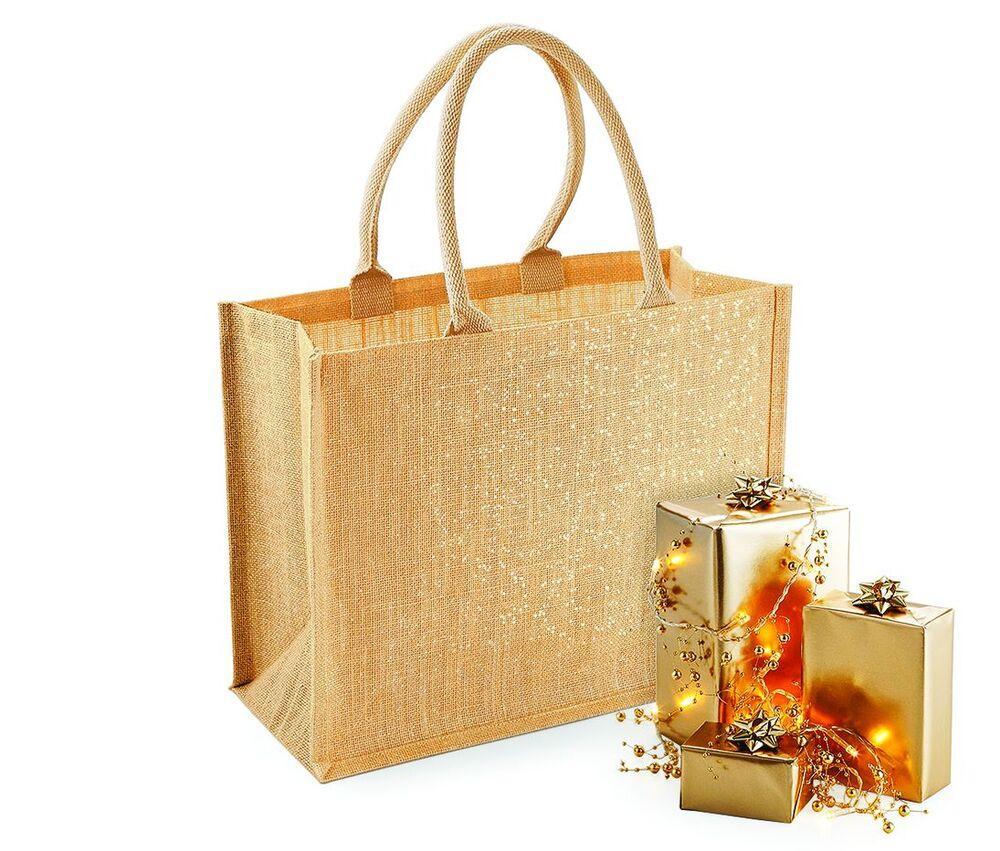 Westford mill WM437 - Unisexe Sac shopping en toile de jute scintillant Red/ Gold - Taille 0