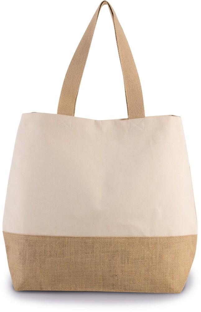 Kimood Pack 40 Kimood KI0235 - Unisexe Sac shopping en toiles de coton jute Cumin Yellow/Natural - Taille One Size