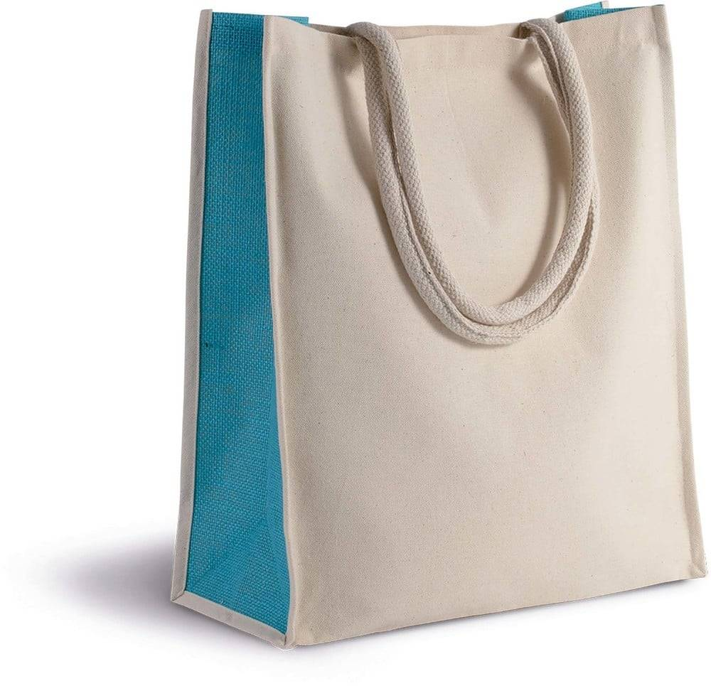 Kimood Pack 50 Kimood KI0253 - Unisexe Sac cabas en coton / jute - 23 L Natural/Black - Taille One Size
