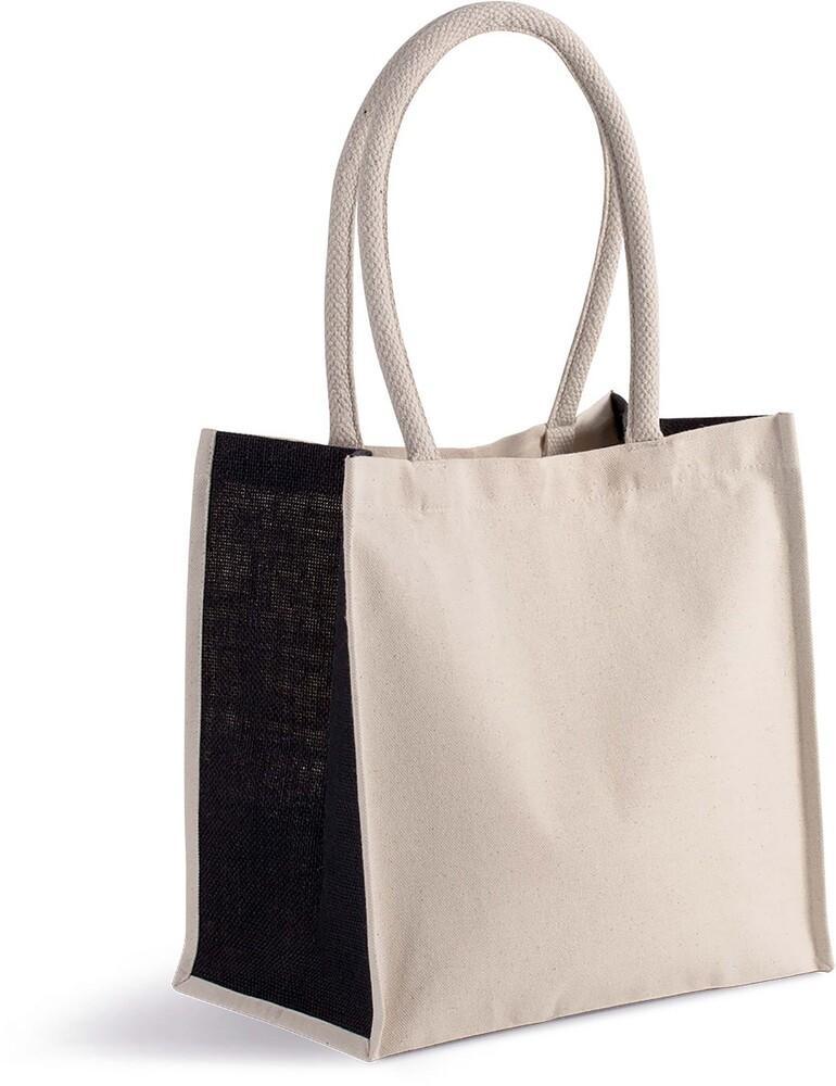 Kimood Pack 50 Kimood KI0255 - Unisexe Sac cabas en coton / jute - 17 L Natural/Black - Taille One Size