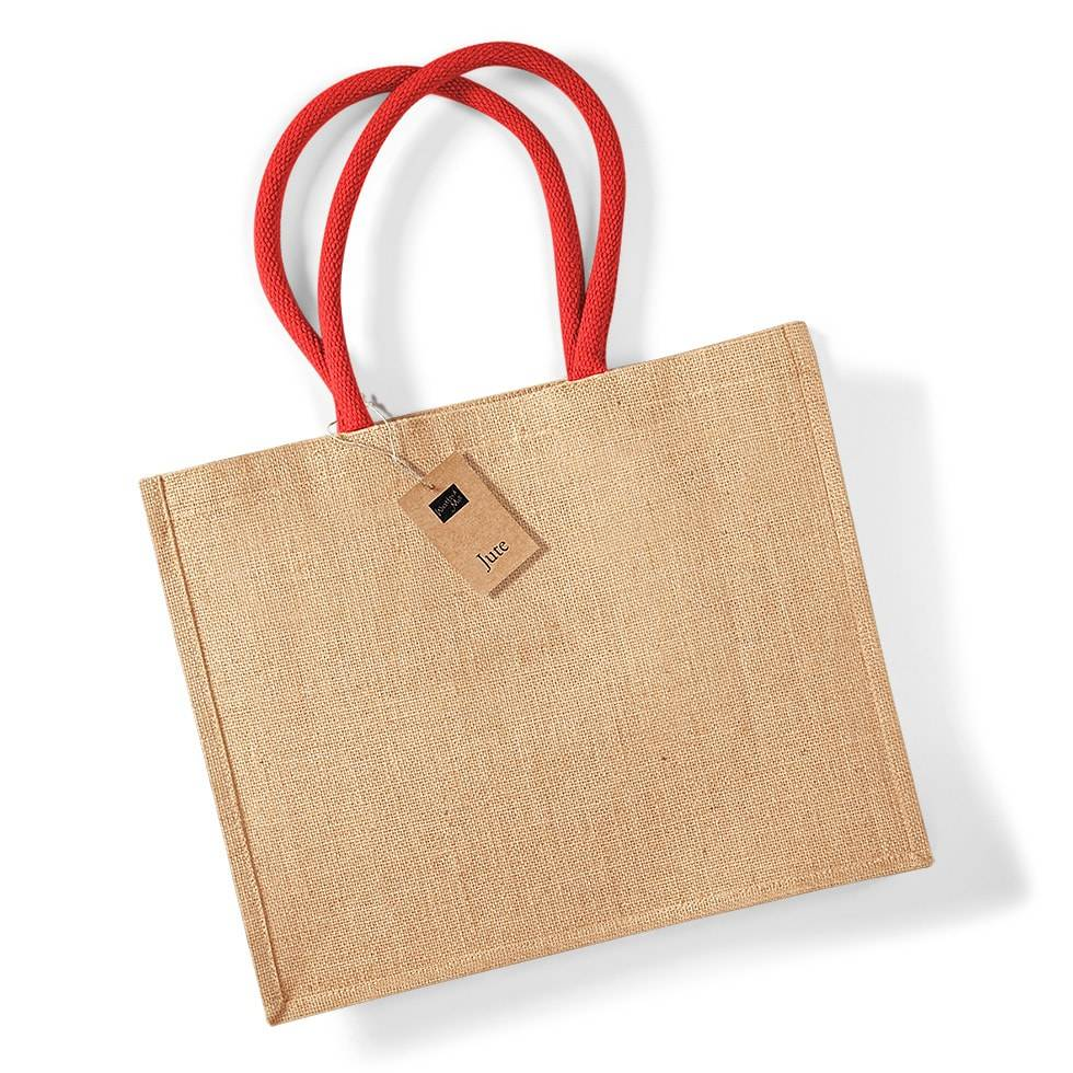 Westford mill WM412 - Petit Sac en Toile de Jute Natural/Bright Red - Taille One Size