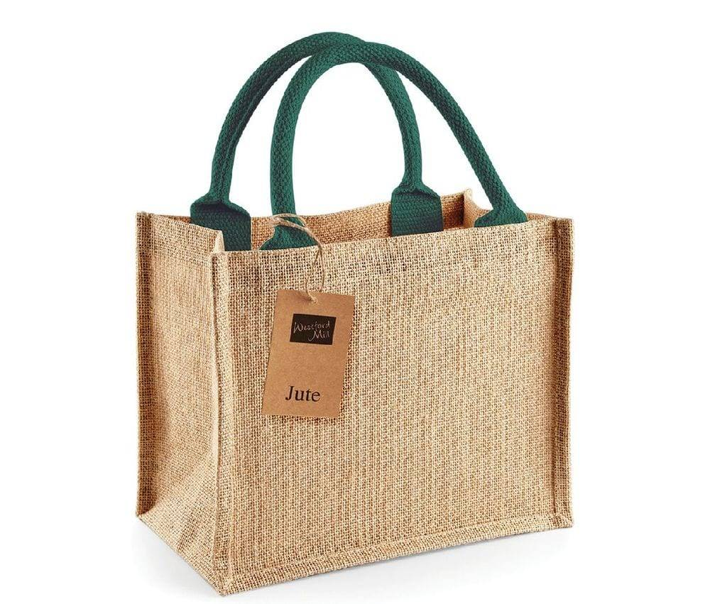 Westford mill WM412 - Petit Sac en Toile de Jute Natural/ Forest Green - Taille One Size