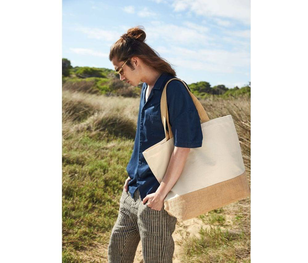 Westford mill WM452 - Sac shopping XL coton/toile de jute Naturel - Taille 34x44x18cm