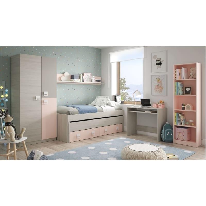 Atelier Mundo Armoire penderie enfant 3 portes L90 x H200 cm Gris rose - Atelier Mundo SA-527 - Taille 90x52 (cm)