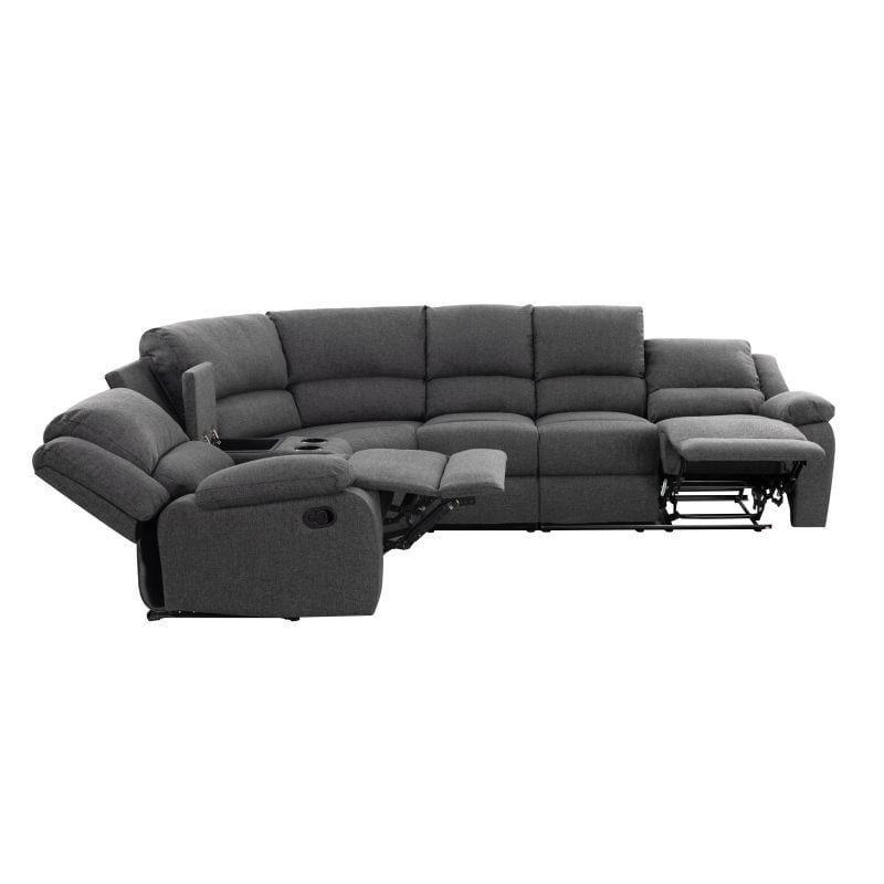 Atelier Mundo SA-453 - Canape dangle droit de relaxation 5 places avec accoudoir porte-gobelet modulable et amovible en tissu et simili - Gris Noir