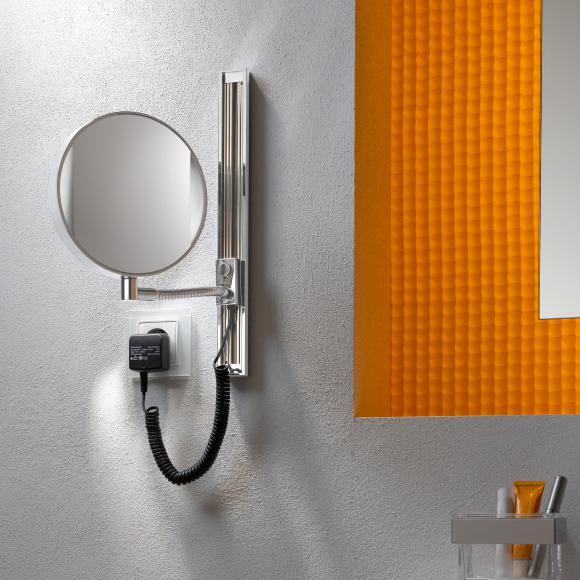 Emco Universal Miroir cosmétique LED, rond, modèle mural, avec rail coulissant, 109506012