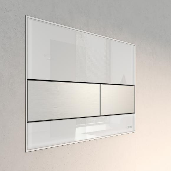 TECE square Plaque d'actionnement de chasse d'eau en verre pour technique de rinçage à 2 volumes, 4027255022317