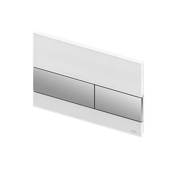 TECE square Plaque d'actionnement de chasse d'eau en verre pour technique de rinçage à 2 volumes, 4027255022324